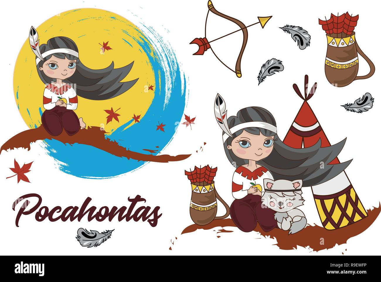 Cartoon Clipart Pocahontas Color Vector Illustration Magic Beautiful