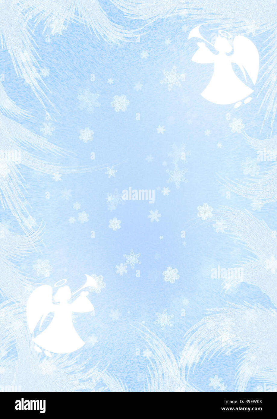 Angels Christmas Background.Christmas Blue Background With Angels And Snowflakes Stock