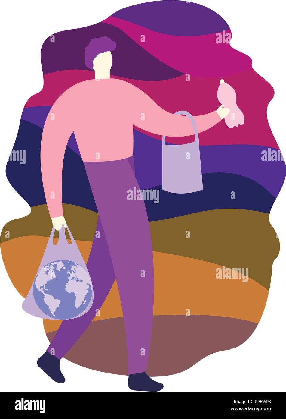Problem of landfill. Environmental pollution. Man holding globe in plastic bag on the background of trash. - Stock Vector