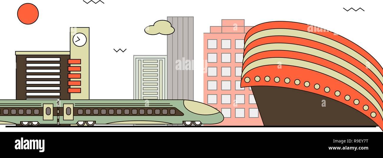 Suburban train station. Flat design style. Vector Illustration - Stock Vector