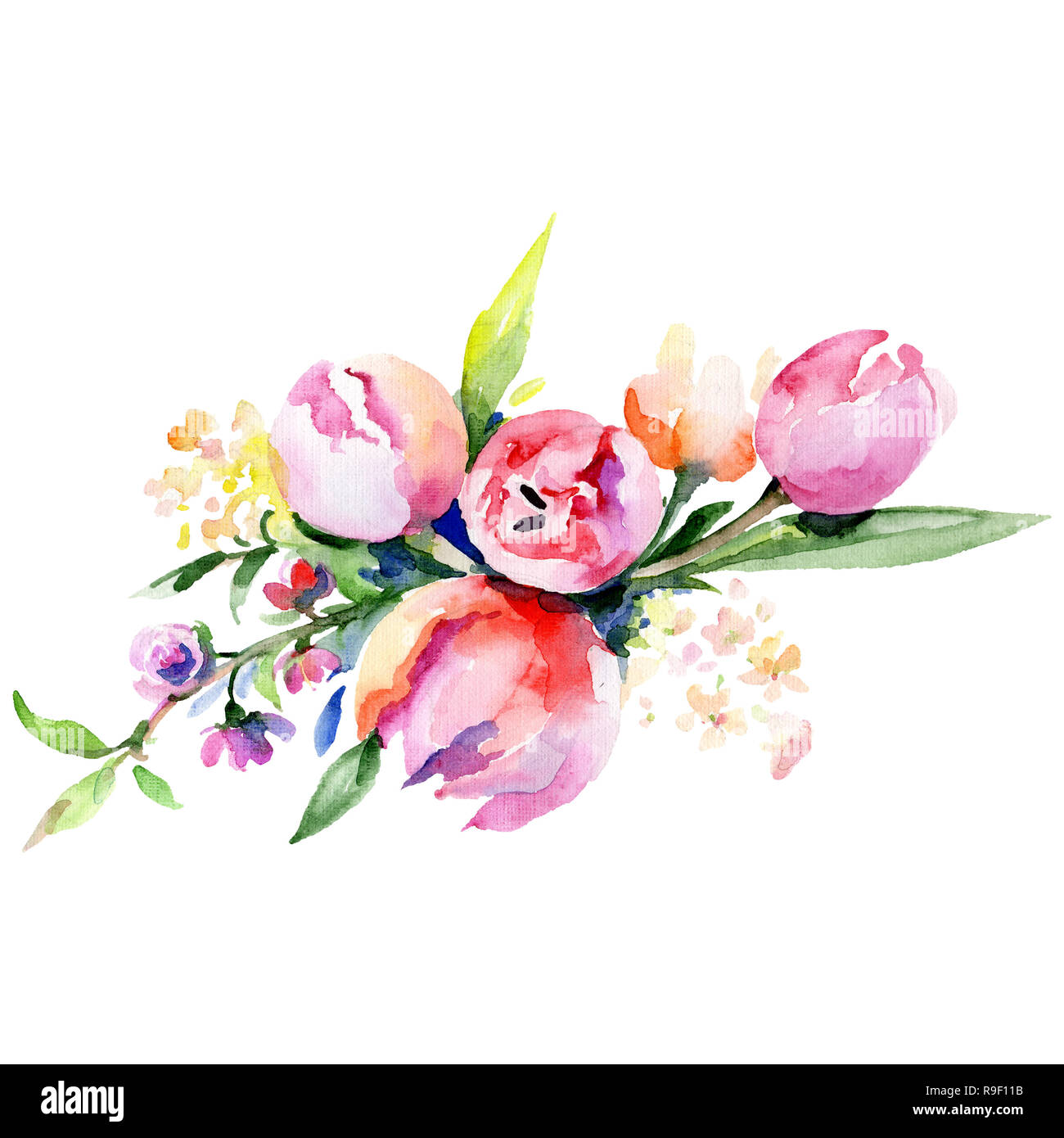 Pink And Yellow Floral Botanical Flower Bouquet Watercolor