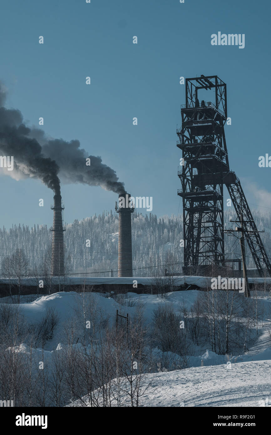 Coal mining plant in Sheregesh, Siberia Russia. - Stock Image