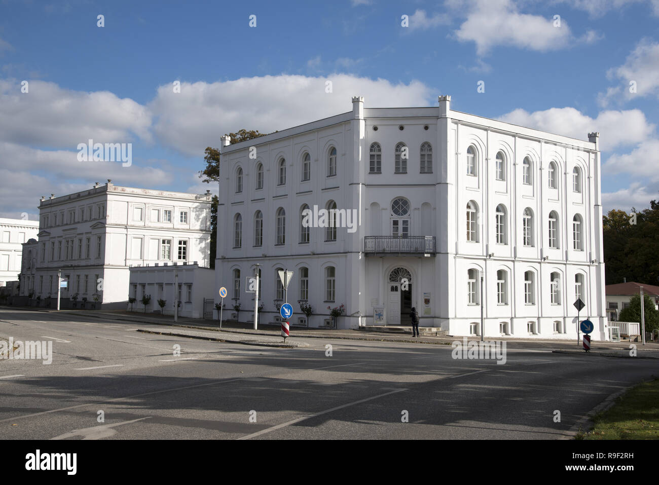 Built from 1810 the town Putbus on Rügen island in northeastern Germany is an impressive example of classicistic style buildings here at the circus. Stock Photo