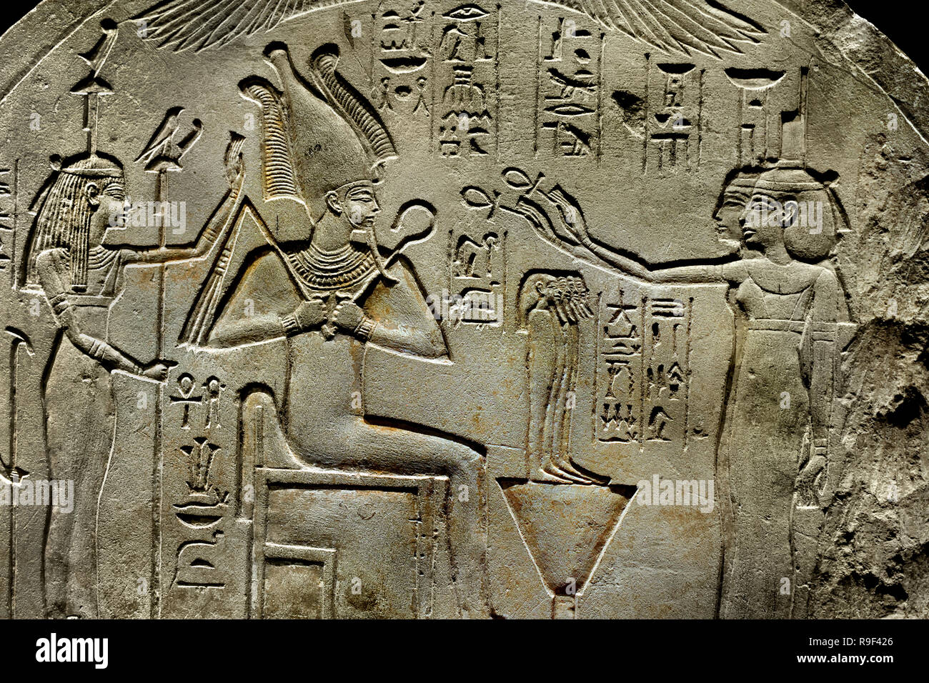 Stele Fragment with Osiris and other gods, 49 x 55 x 10 cm, Period: New Kingdom 1550-1070 BC, Egypt, Egyptian. - Stock Image