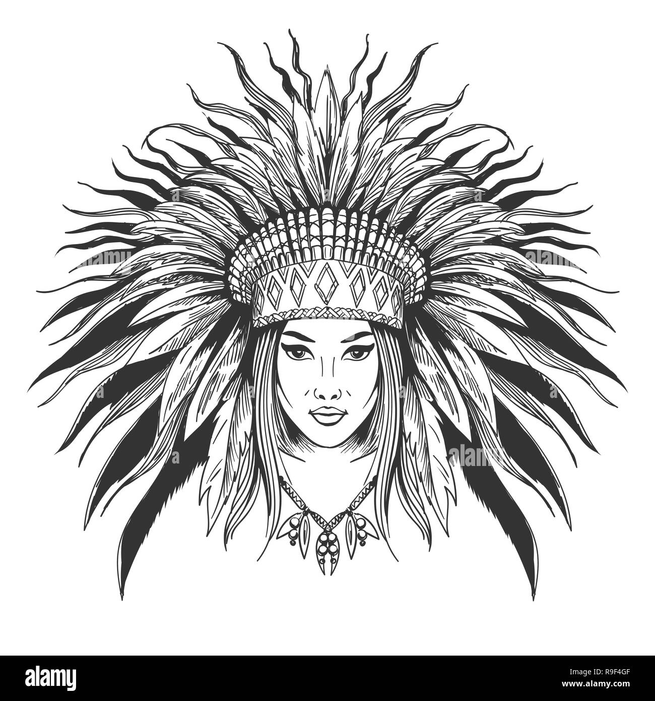 Hand drawn indian girl in feathers war bonnet. Vector illustration. - Stock Image