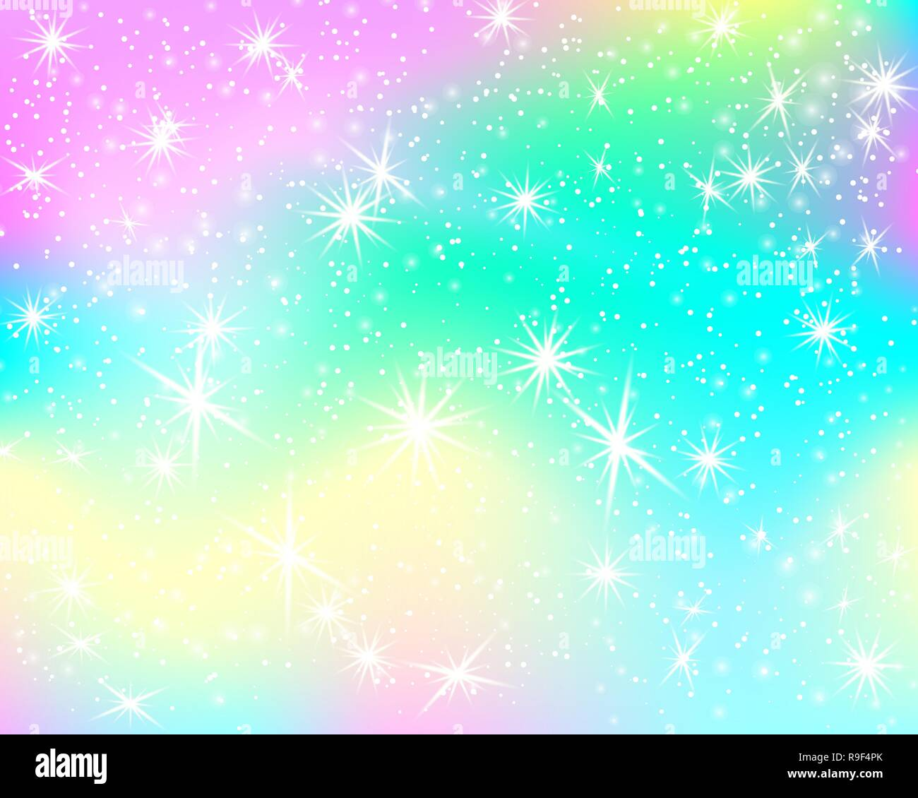 Unicorn rainbow background. Holographic sky in pastel ...