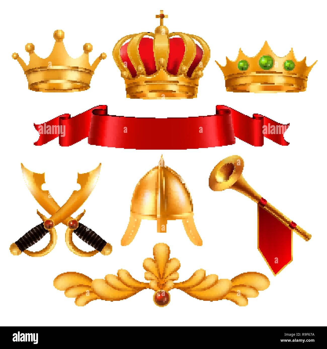 Gold Crown Vector. Golden King Royal Crown With Gems, Red Ribbon Velvet Textile, Swordm Helmet, Horn. Monarchy Power, Competition Winner. Certificate, Diploma Design. Isolated Realistic Illustration - Stock Vector
