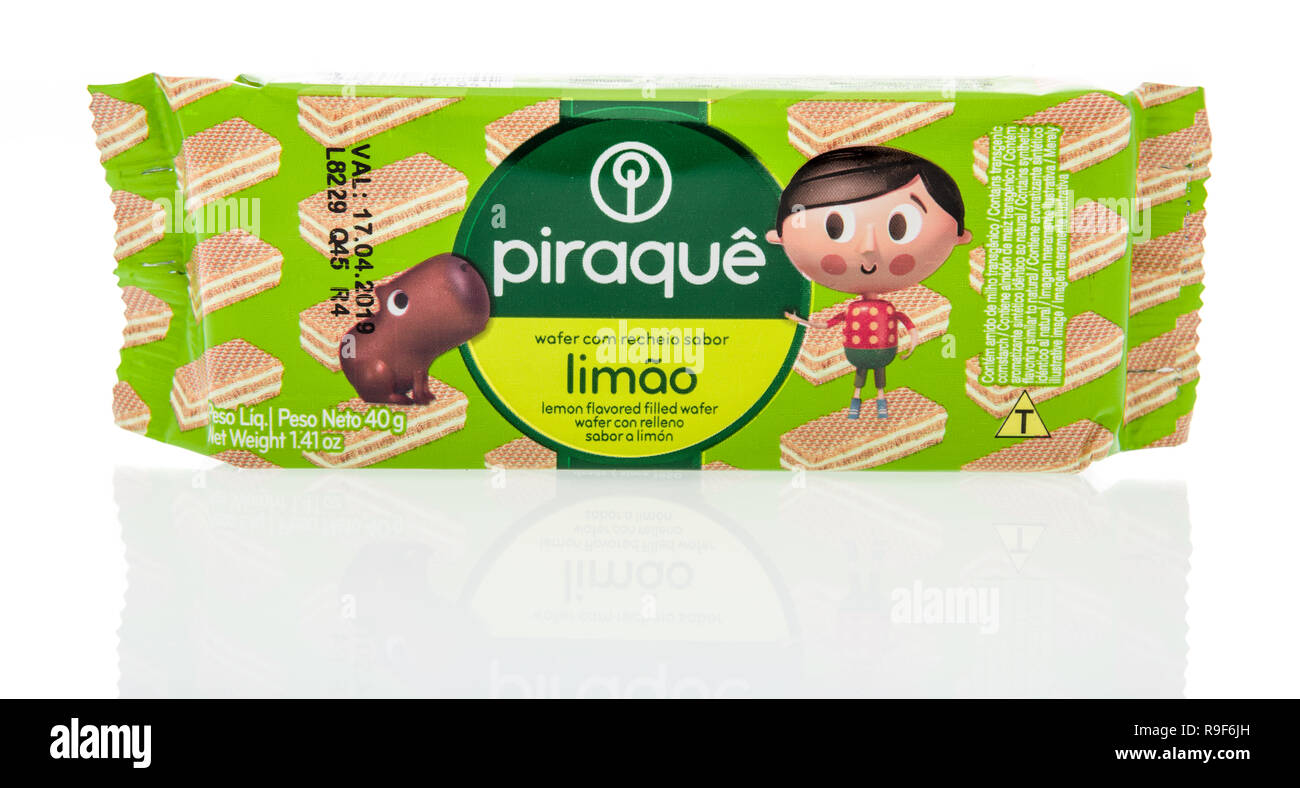 Winneconne, WI - 21 December 2018:  A package of Piraque lemon lime flavor wafers from Brazil on an isolated background. Stock Photo