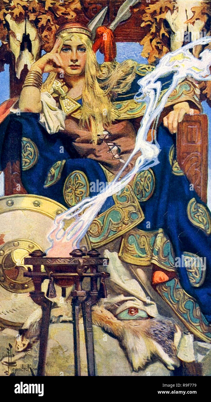 Queen Maev by J. C. Leyendecker, Medb is queen of Connacht in the Ulster Cycle of Irish mythology. Queen Maev by Joseph Leyendecker - Stock Image