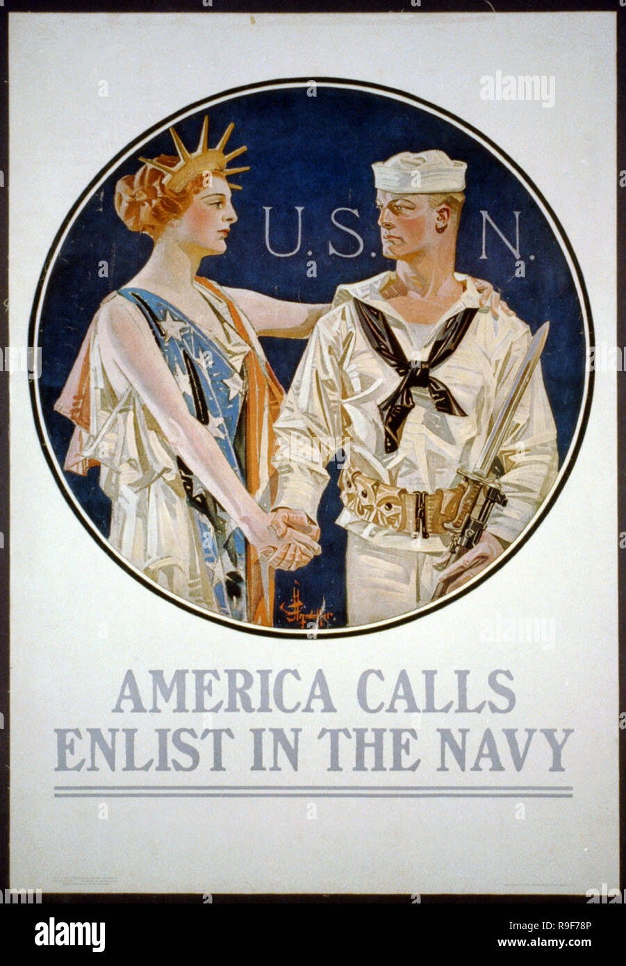 America calls, enlist in the Navy recruitment poster by J.C. Leyendecker. - Stock Image