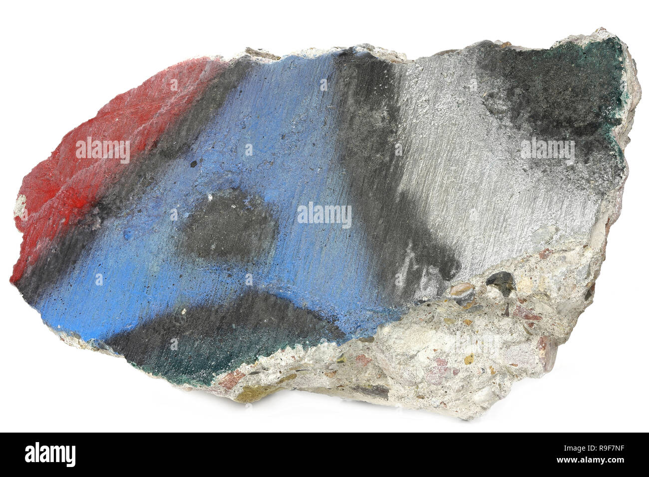 fragment of the Berlin Wall isolated on white background - Stock Image