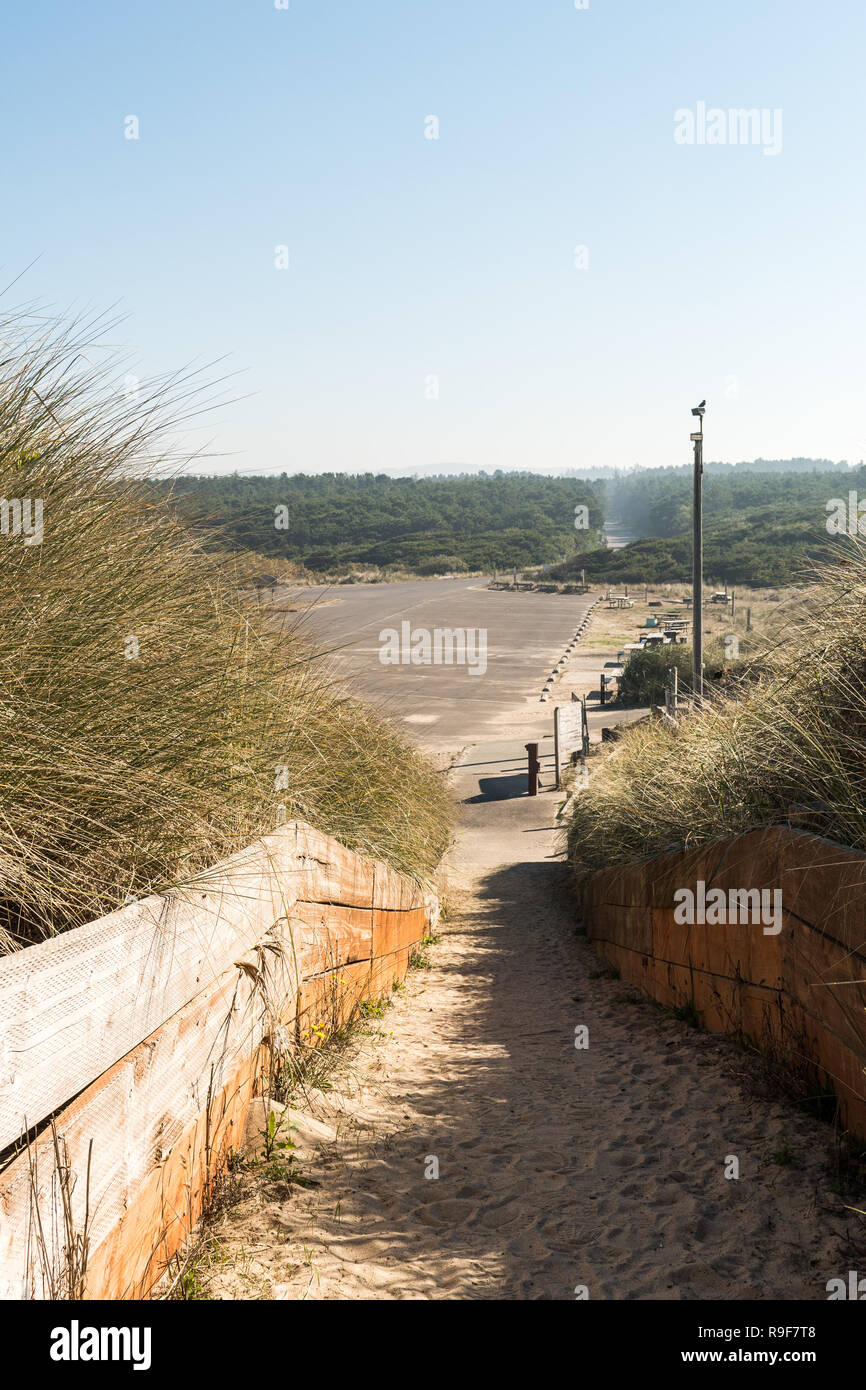Entrance to Horsfall Beach from Oregon Dunes National Recreation Area - Stock Image