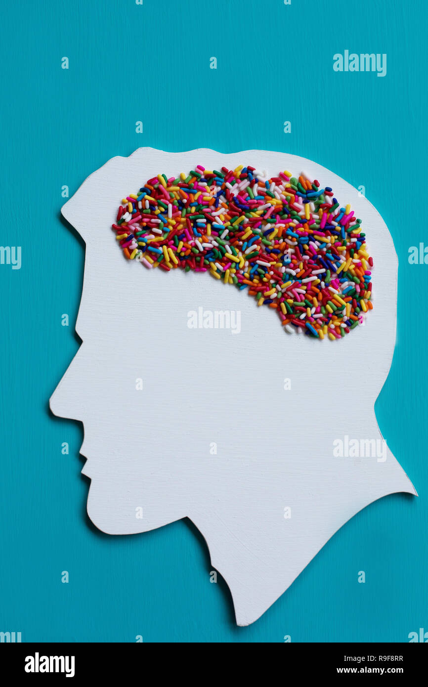 Conceptual: sugar addiction and effects of sugar on the brain. - Stock Image