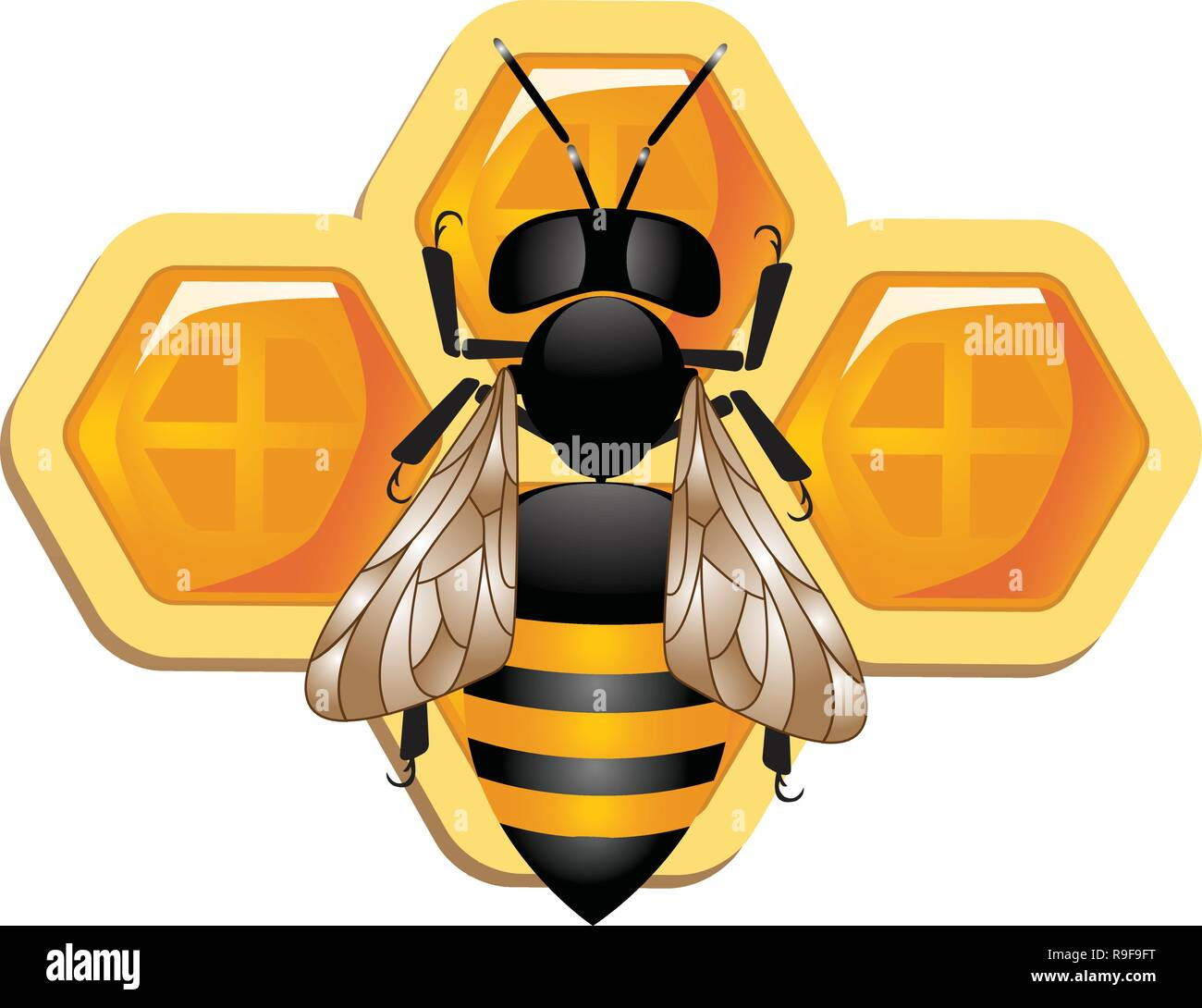 Wax cells with sweet bee honey,Vector - honeycomb isolated on white bavkground,Bees And Honey Vector, Working Bees On Honeycomb,Bumble Bee Honey Clip - Stock Vector
