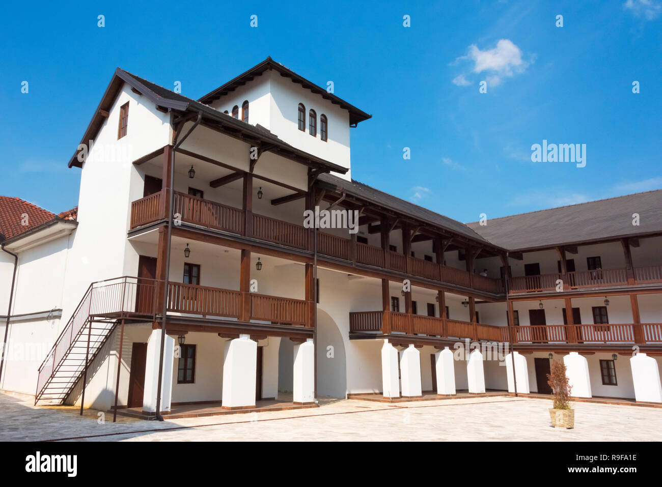 Building in Andricgrad (also known as Andric's town or Stone town) dedicated to the famous writer, Ivo Andric, Visegrad, Bosnia and Herzegovina - Stock Image
