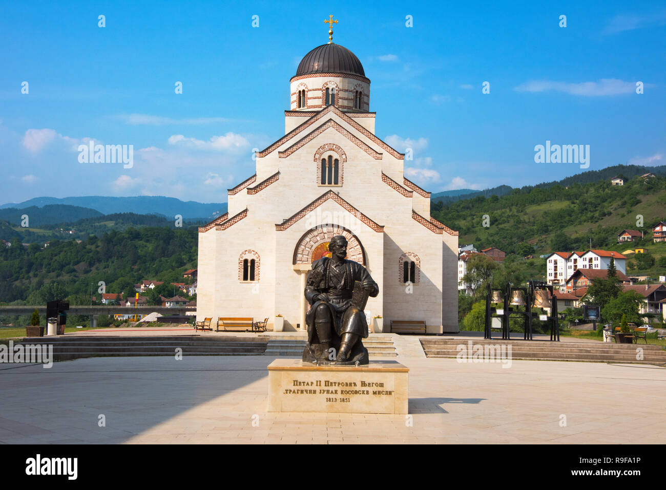 Church of Saint Lazar, Andricgrad (also known as Andric's town or Stone town) dedicated to the famous writer, Ivo Andric, Visegrad, Bosnia and Herzego - Stock Image