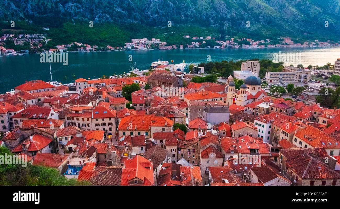 Red roof houses on the Adriatic coast in the Bay of Kotor, Montenegro - Stock Image