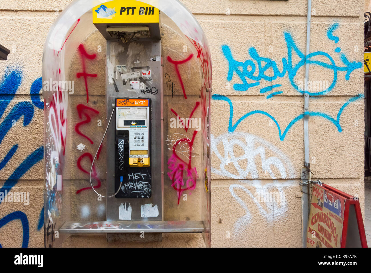 Old public telephone, Sarajevo, Bosnia and Herzegovina - Stock Image