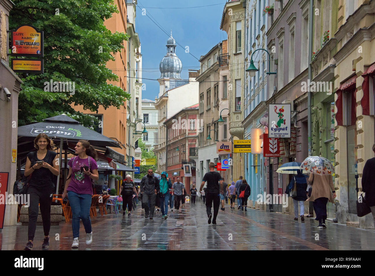 Street view in the old town, Sarajevo, Bosnia and Herzegovina - Stock Image