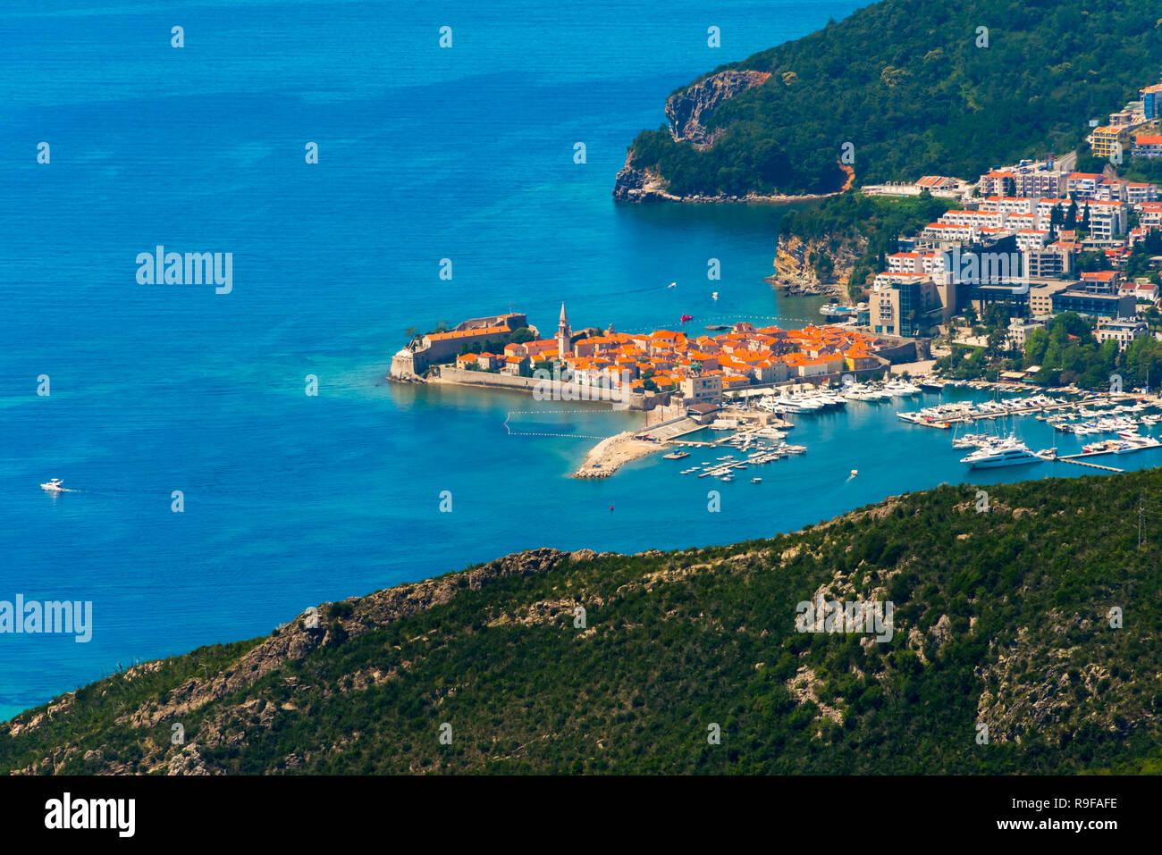 Budva along the Adriatic coast, Montenegro - Stock Image