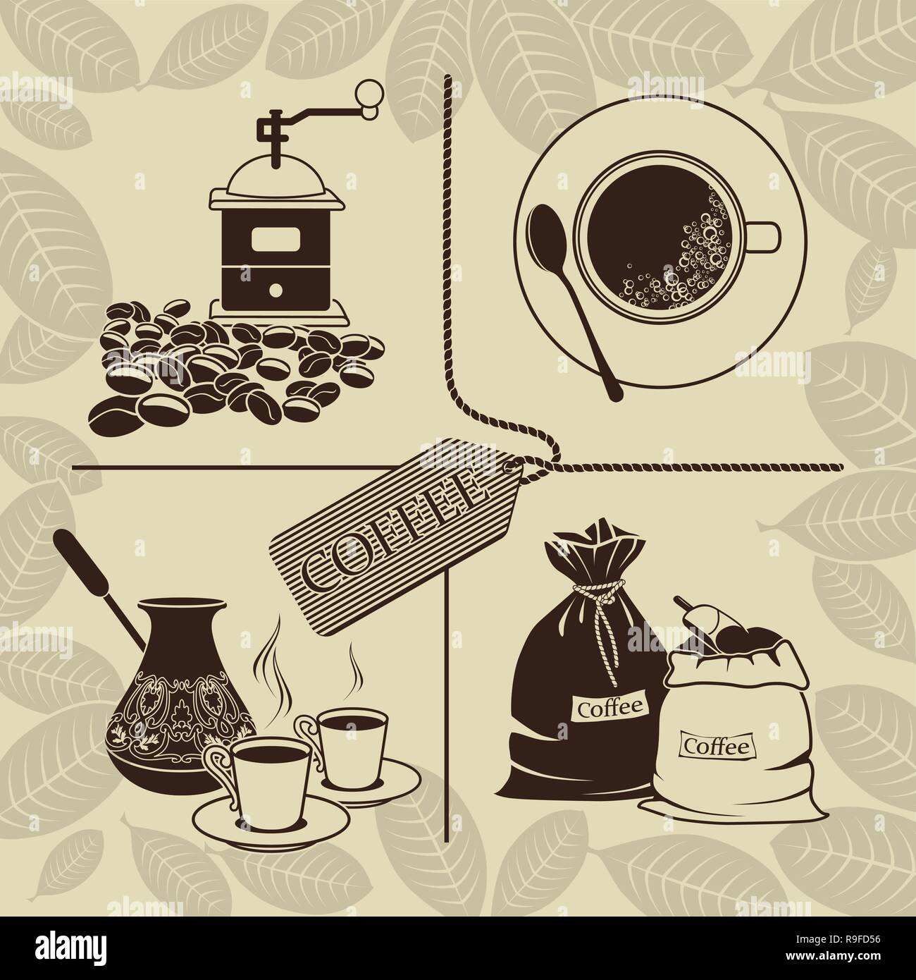 Set of coffee beans, cezve, grinder, cup of coffee and sacks - Stock Vector