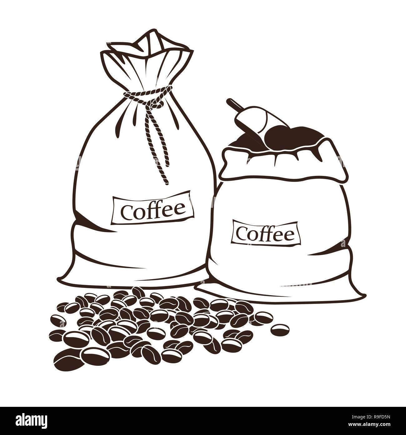 sacks with coffee and coffee beans - Stock Vector