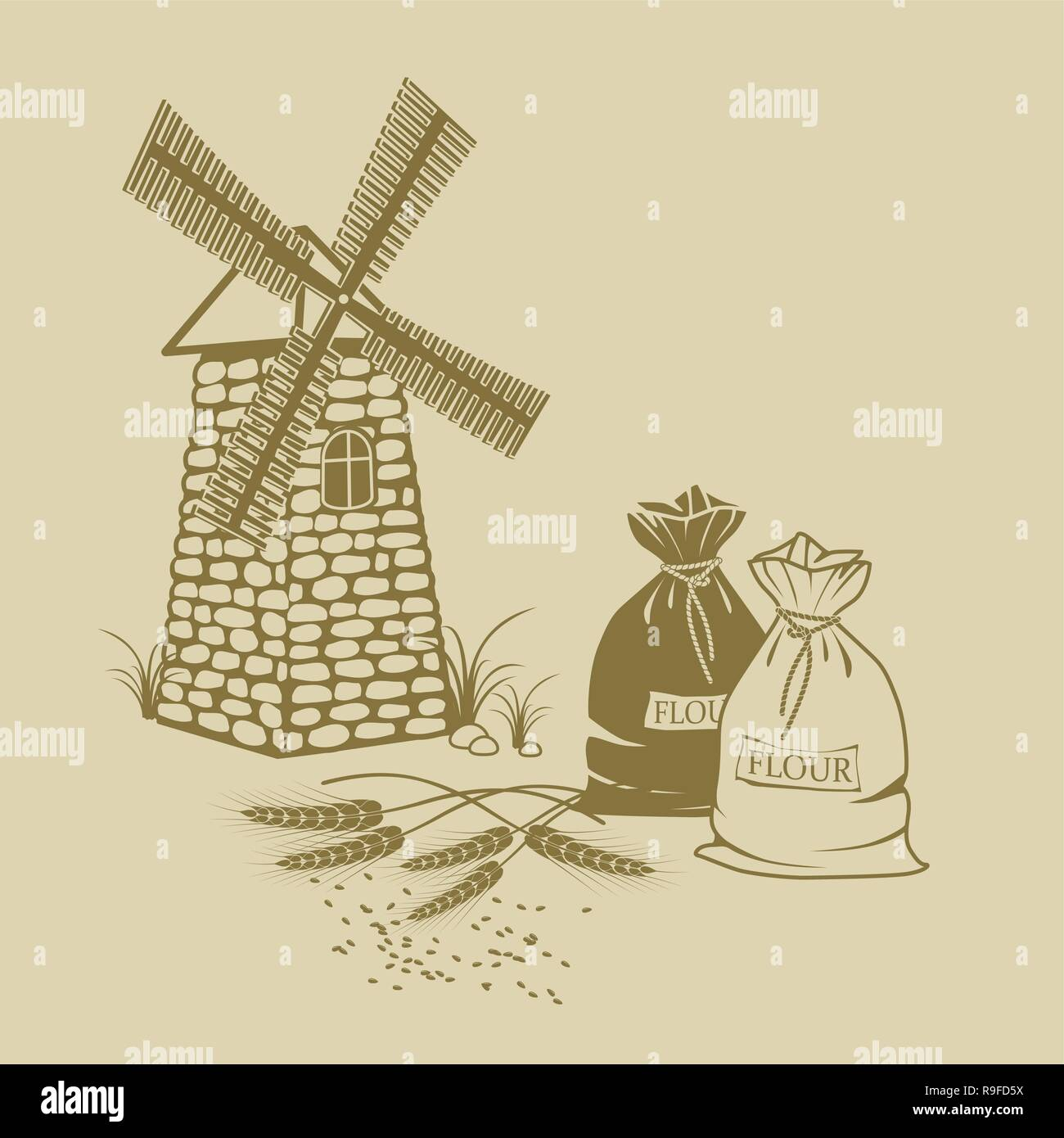 hand-drawn Vector illustration of ears of wheat sacks of flour and windmill - Stock Vector