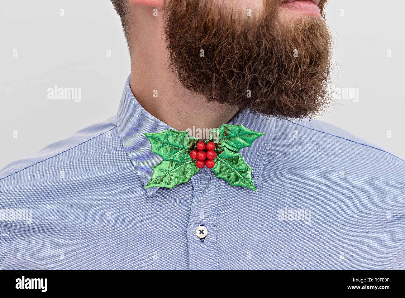 Close up of handsomely bearded office manager hipster with festive formal wear Christmas bow tie and blue shirt on white background. Christmas corpora - Stock Image