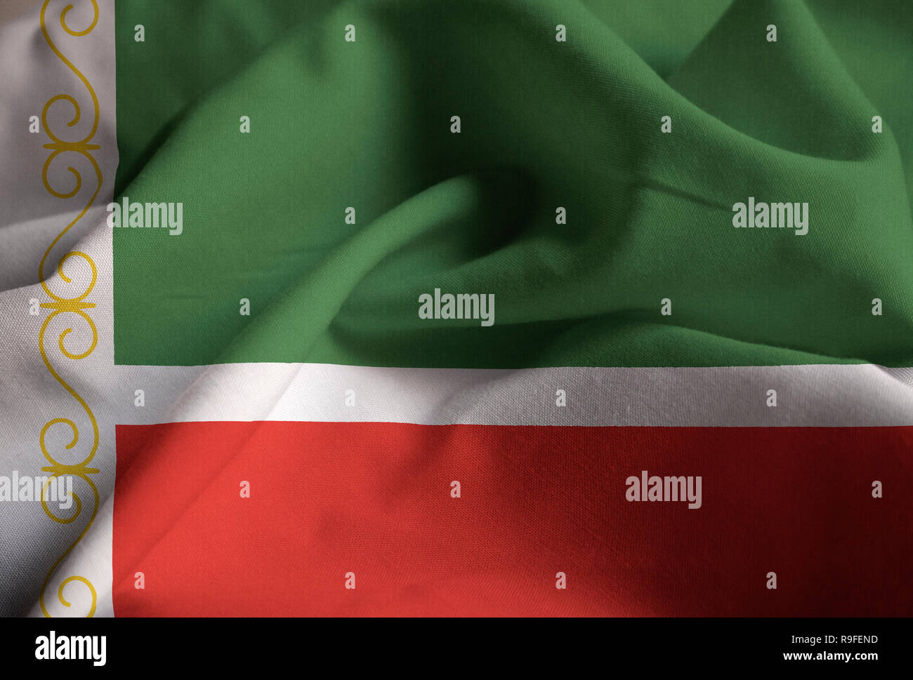 Closeup of Ruffled Chechen Republic Flag, Chechen Republic Flag Blowing in Wind - Stock Image