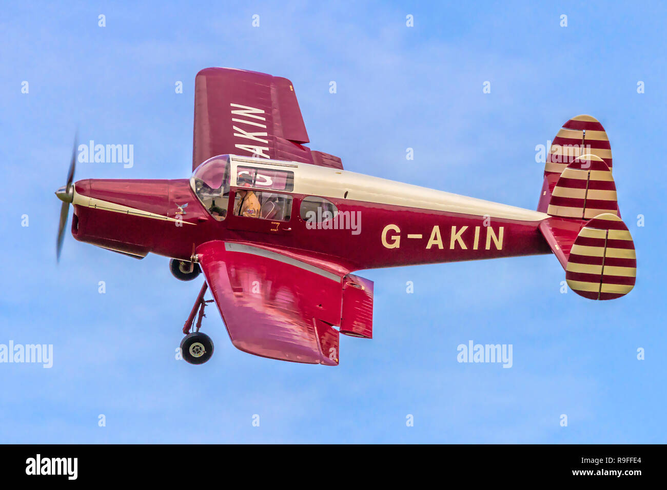 A topside view of the Sywell Messenger Group's Miles Messenger 2A G-AKIN banking round at Old Warden during 2014. - Stock Image