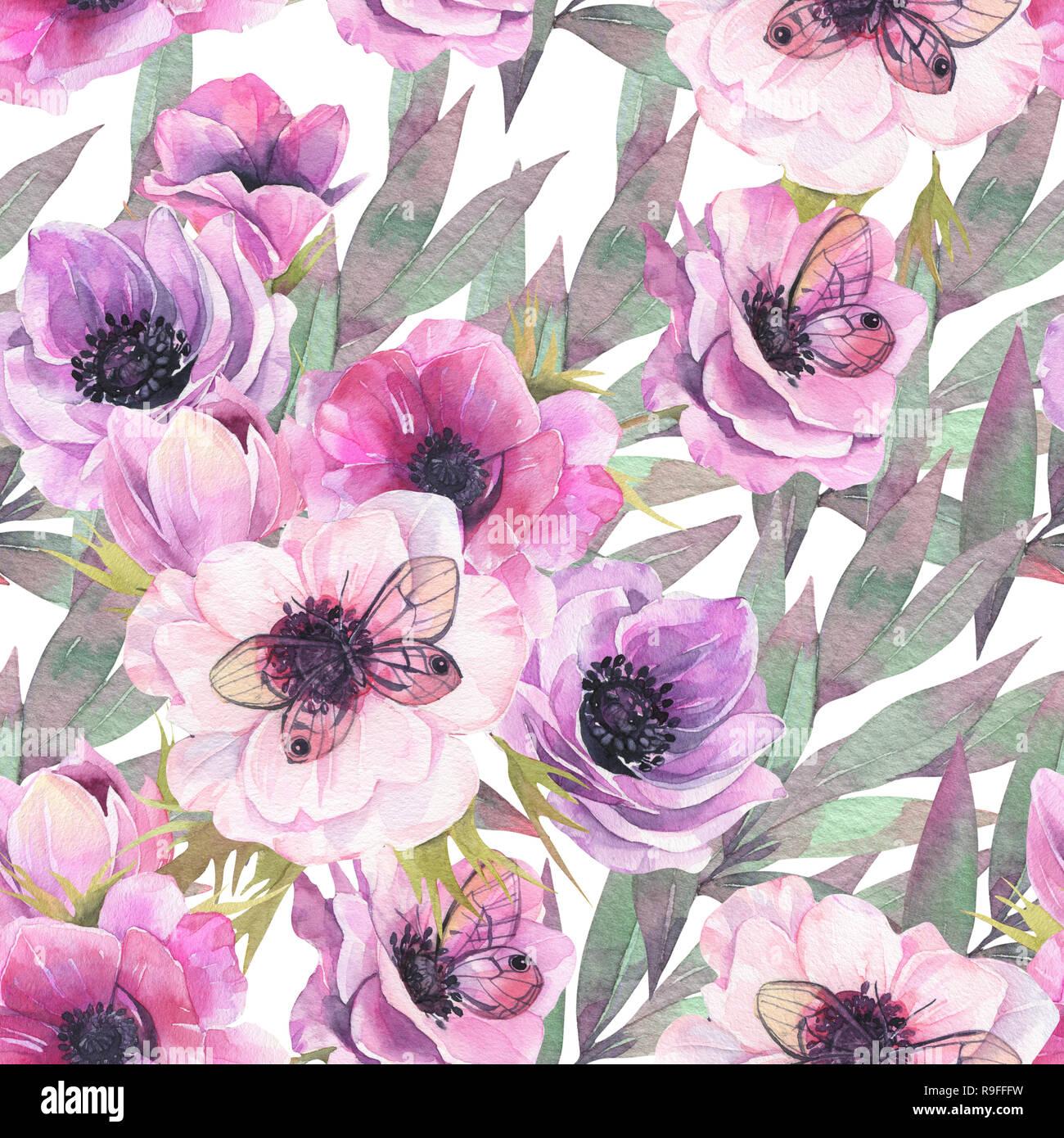 Seamless Flower Pattern Anemones Background Watercolor Wallpaper