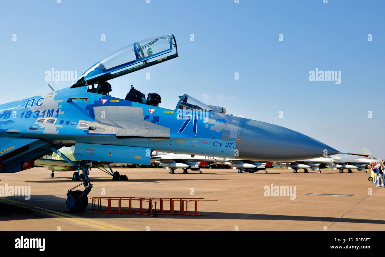 Sukhoi SU-27 Flanker, Ukrainian Air Force, on display at the 2018 Royal International Air Tattoo - Stock Image