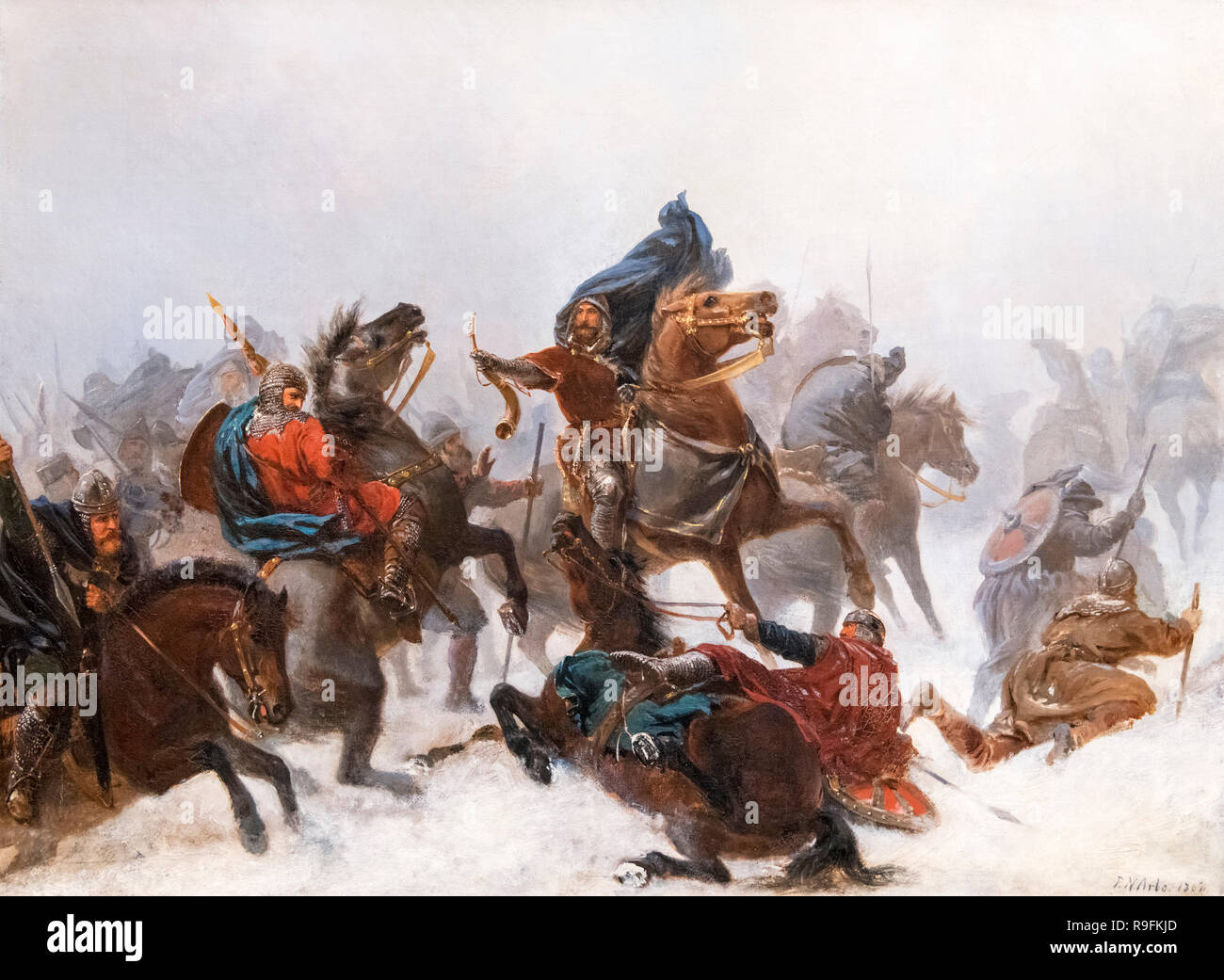 The Flight of King Sverre by Peter Nicolai Arbo (1831-1892), oil on canvas, 1862 - Stock Image