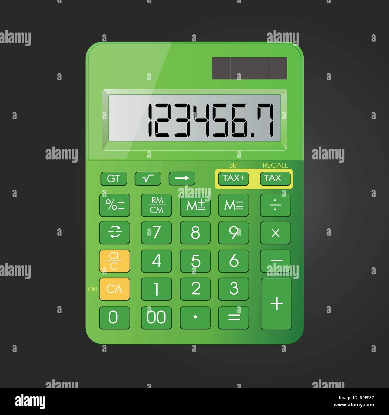 Realistic calculator vector icon isolated on black background, vector illustration. Stock Vector