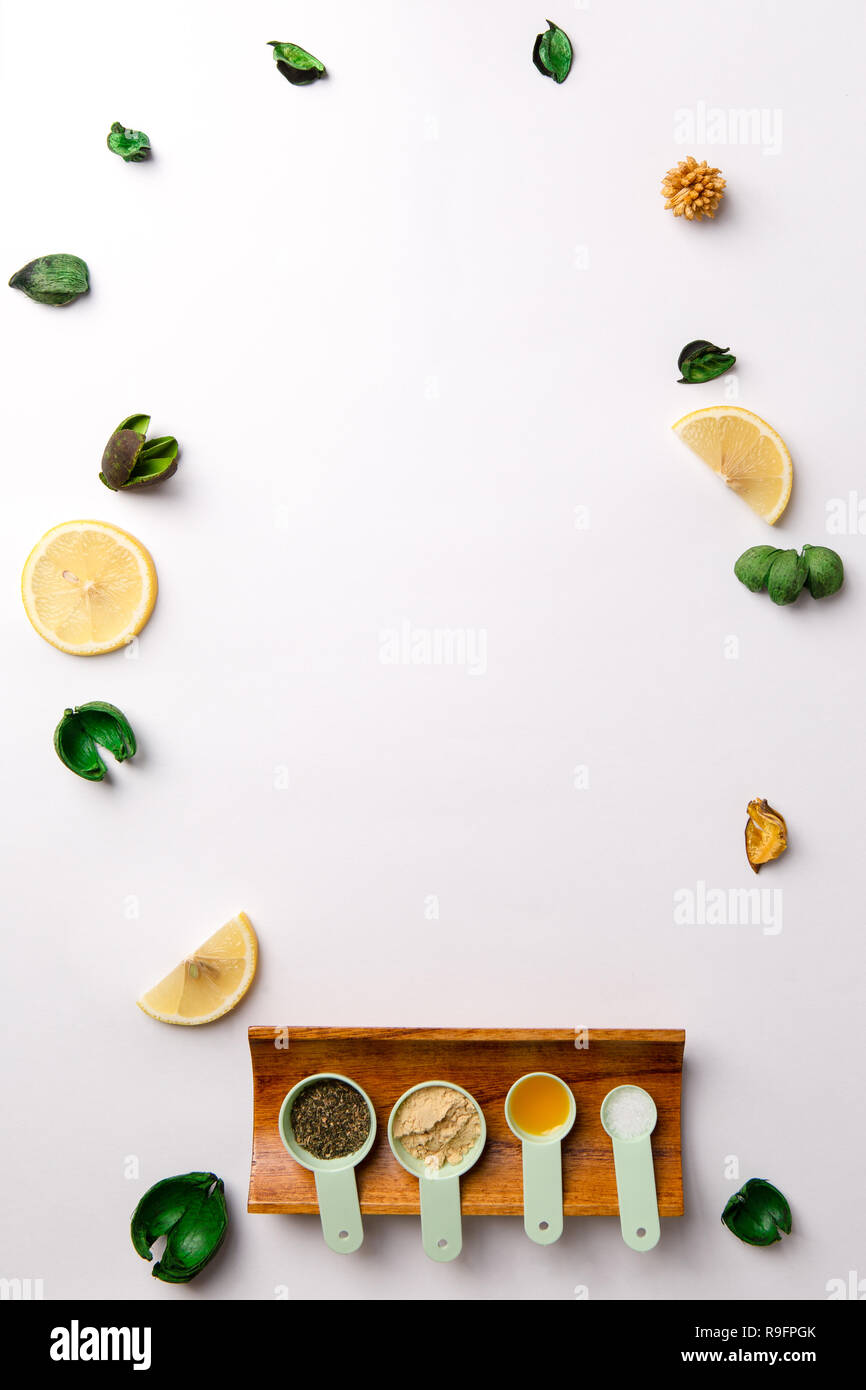 Ingredients For Homemade Face Mask Or Hair Castor Oil Essential Oils Mustard Dry Nettle Leaves Stock Photo Alamy