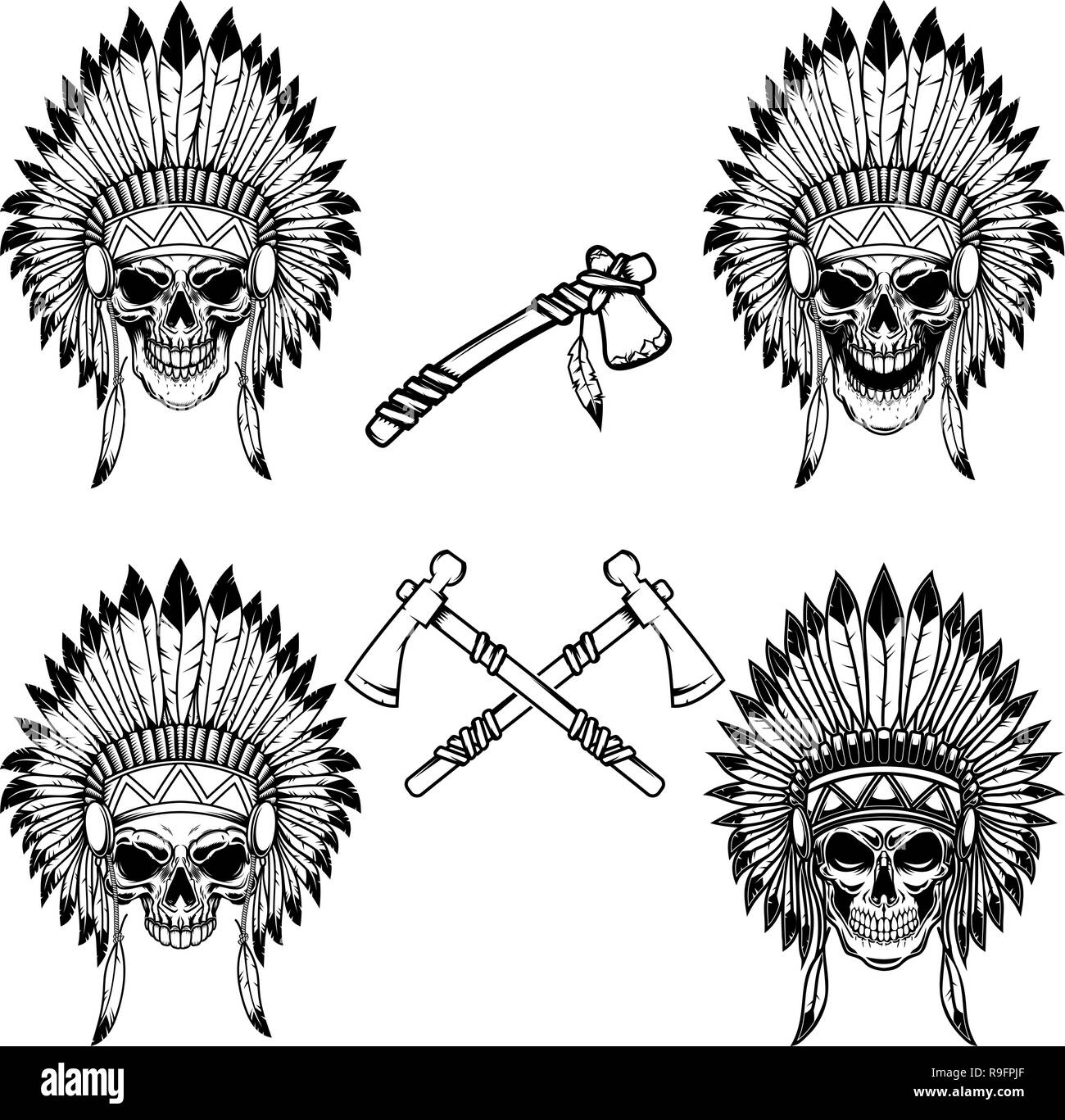 Native indian chief skull with crossed tomahawks. Design element for logo, label, emblem, sign. Vector illustration - Stock Image