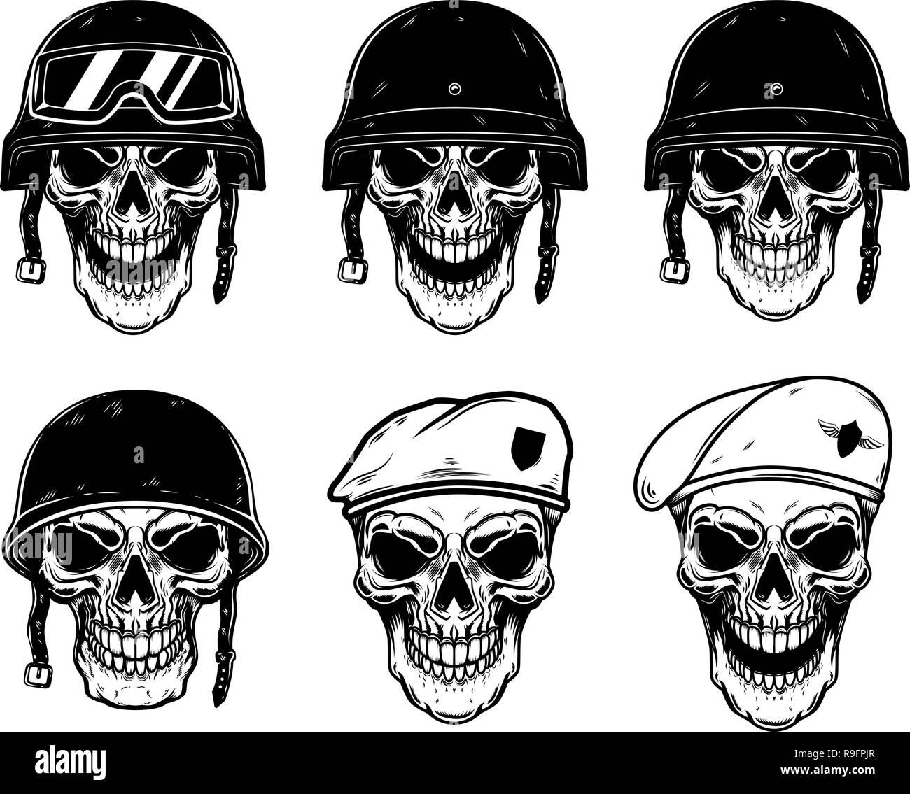 Set of soldier skulls in paratrooper beret, tactical helmet. Design element for logo, label, emblem, sign, poster, t shirt. Vector image - Stock Image