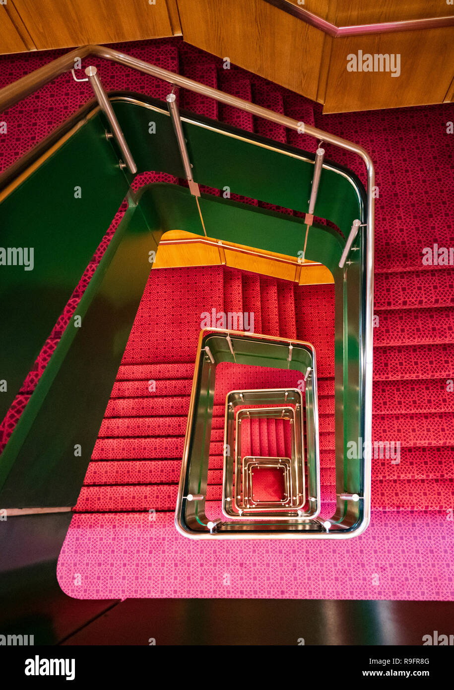 Stairway of Queen Elizabeth 2 former ocean liner now reopened as hotel in Dubai , United Arab Emirates - Stock Image