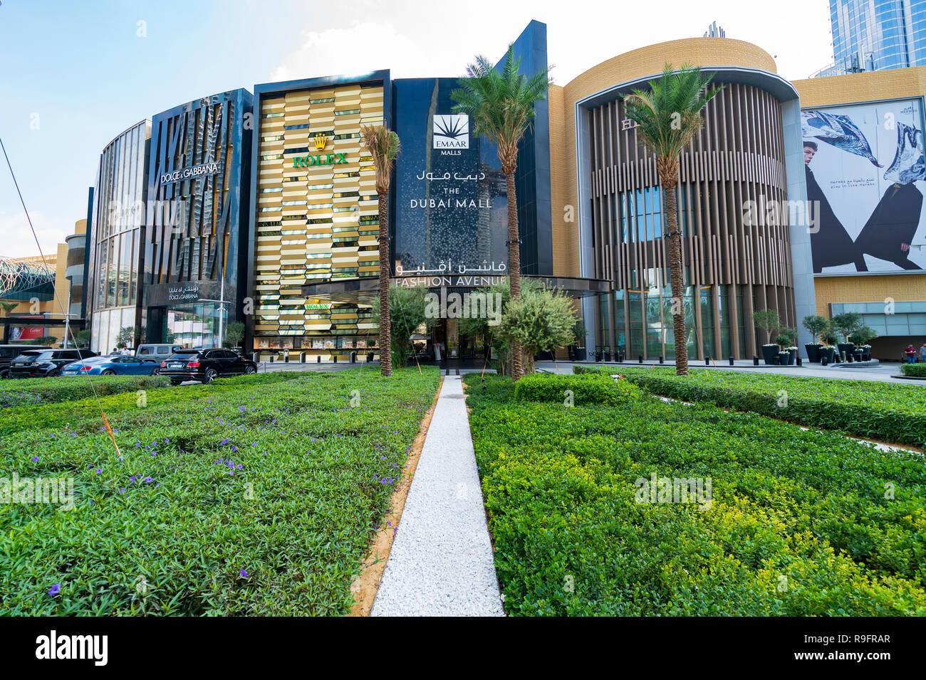 Exterior of Dubai Mall Fashion Avenue , Downtown Dubai, United Arab Emirates - Stock Image