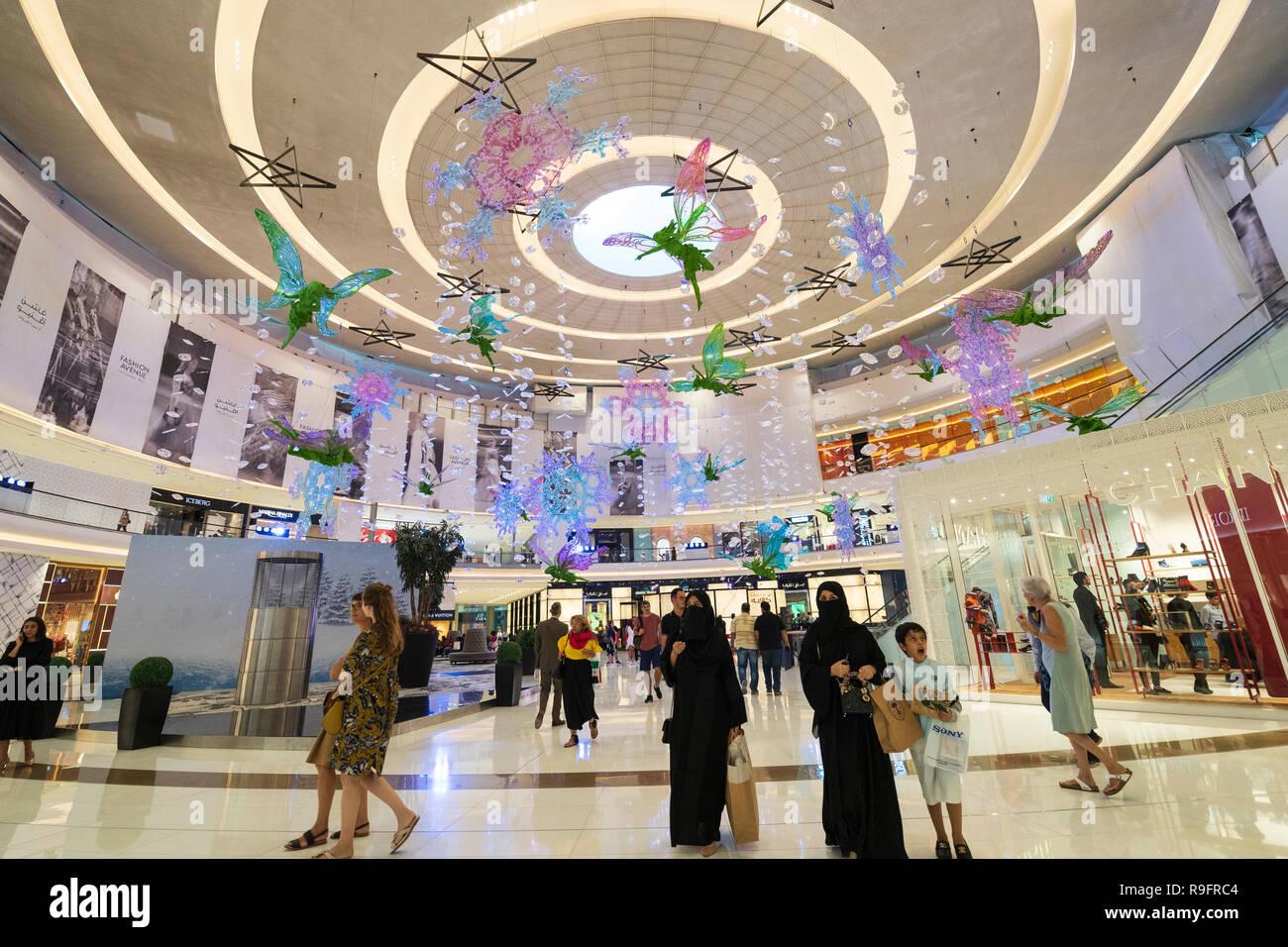 Christmas decorations at Dubai Mall Fashion Avenue , Downtown Dubai, United Arab Emirates - Stock Image