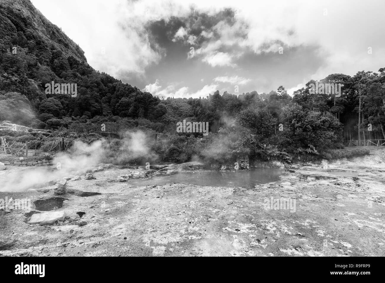 Black and white view if thernal vents at the Fumarolas da Lagoa das Furnas in Sao Miguel. - Stock Image