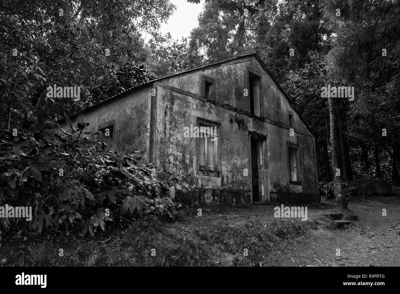 Mysterious old Azores Building in Black and White. - Stock Image