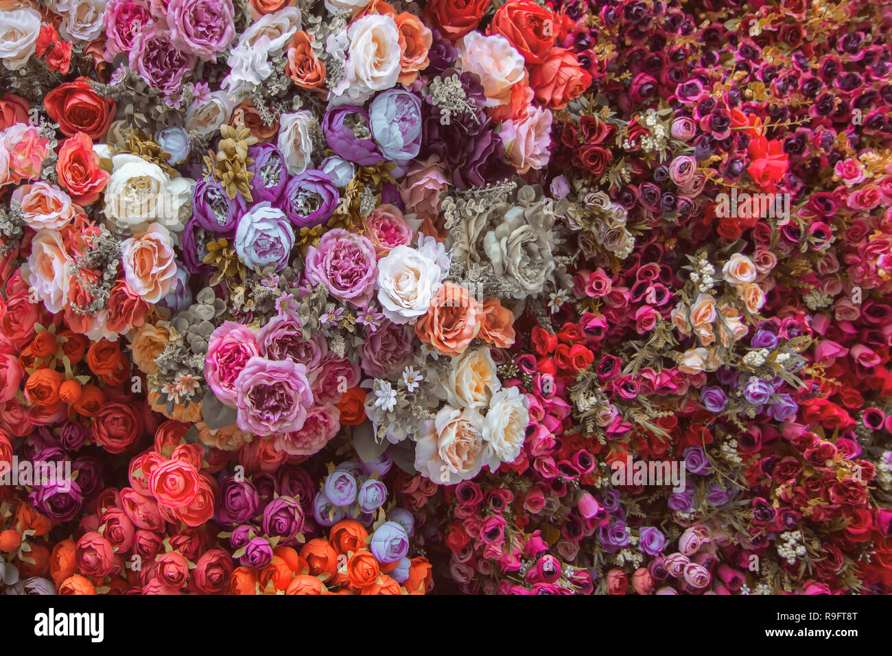 Floral Background Roses With Other Flowers Set Of Rustic Flowers