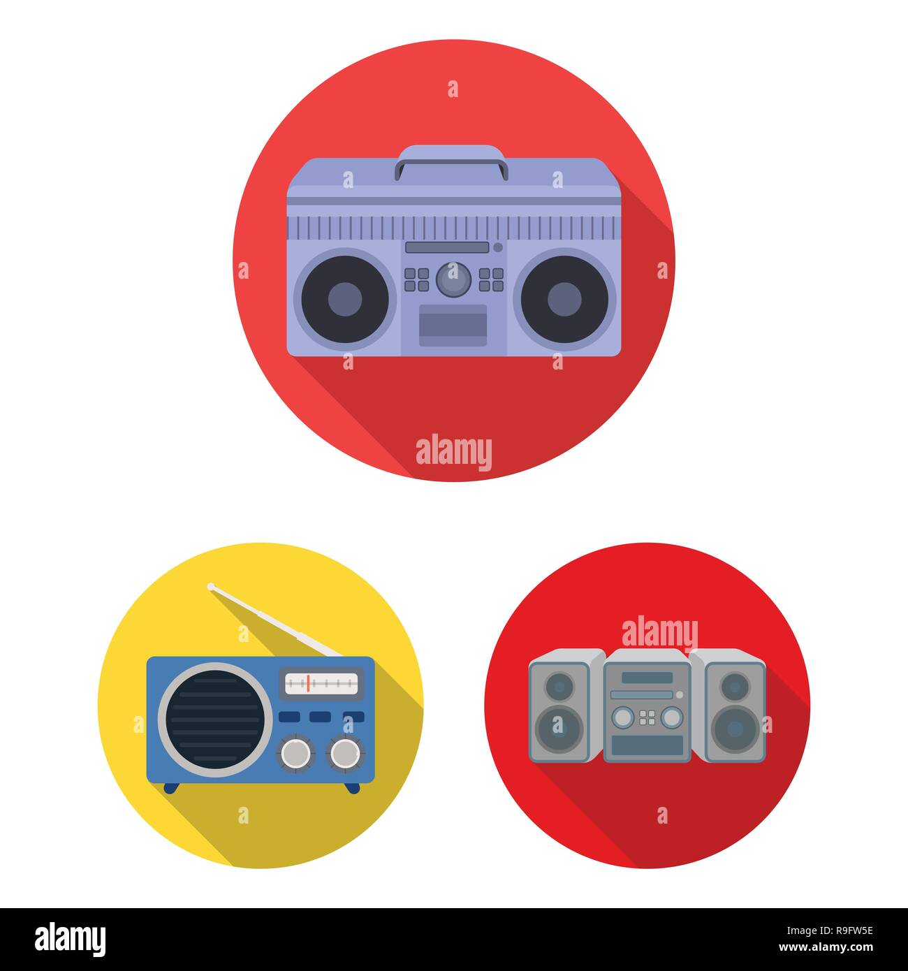 Vector design of boombox  and  logo. Set of boombox  and  stock symbol for web. - Stock Vector