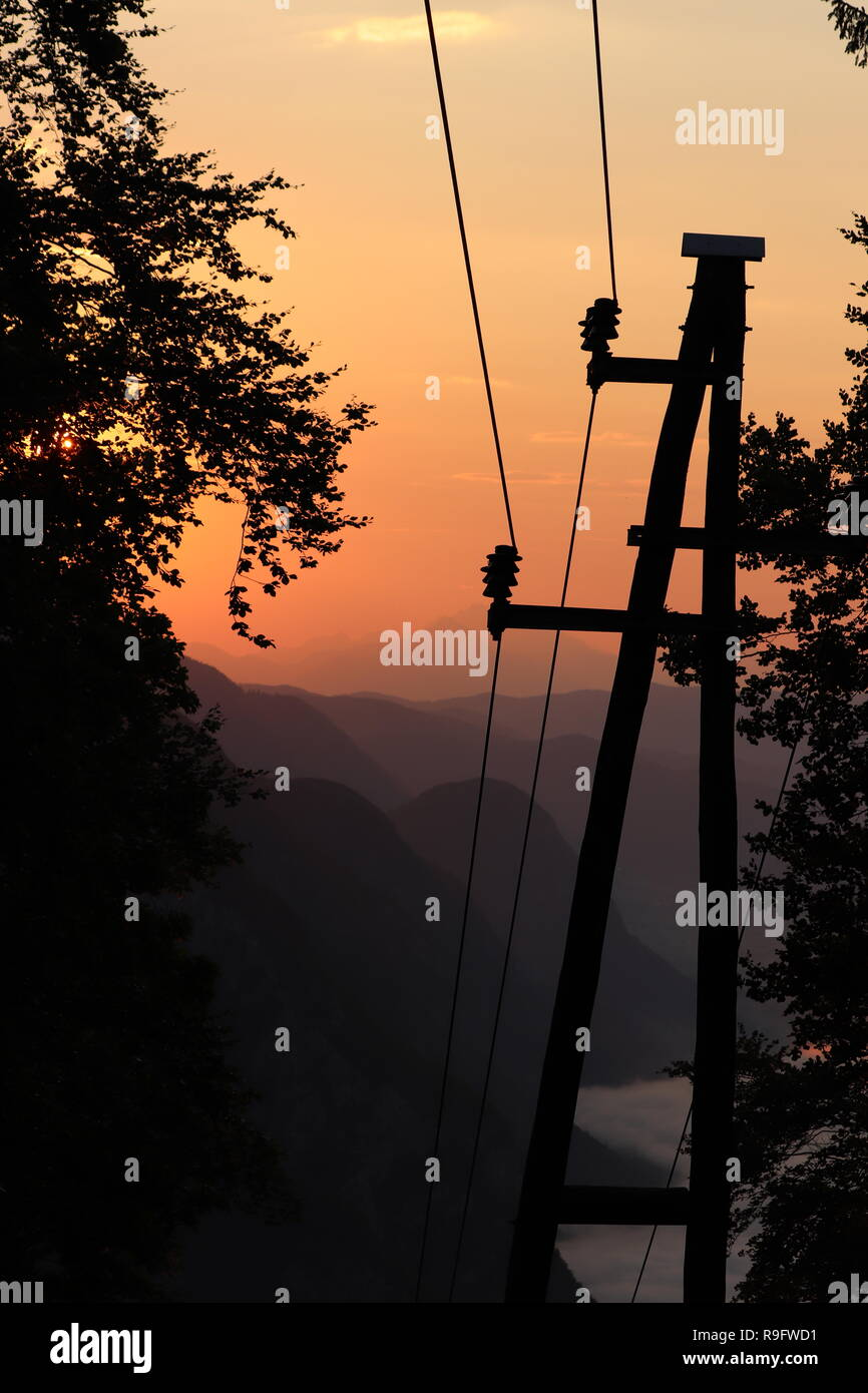 electric tower early in the morning - Stock Image