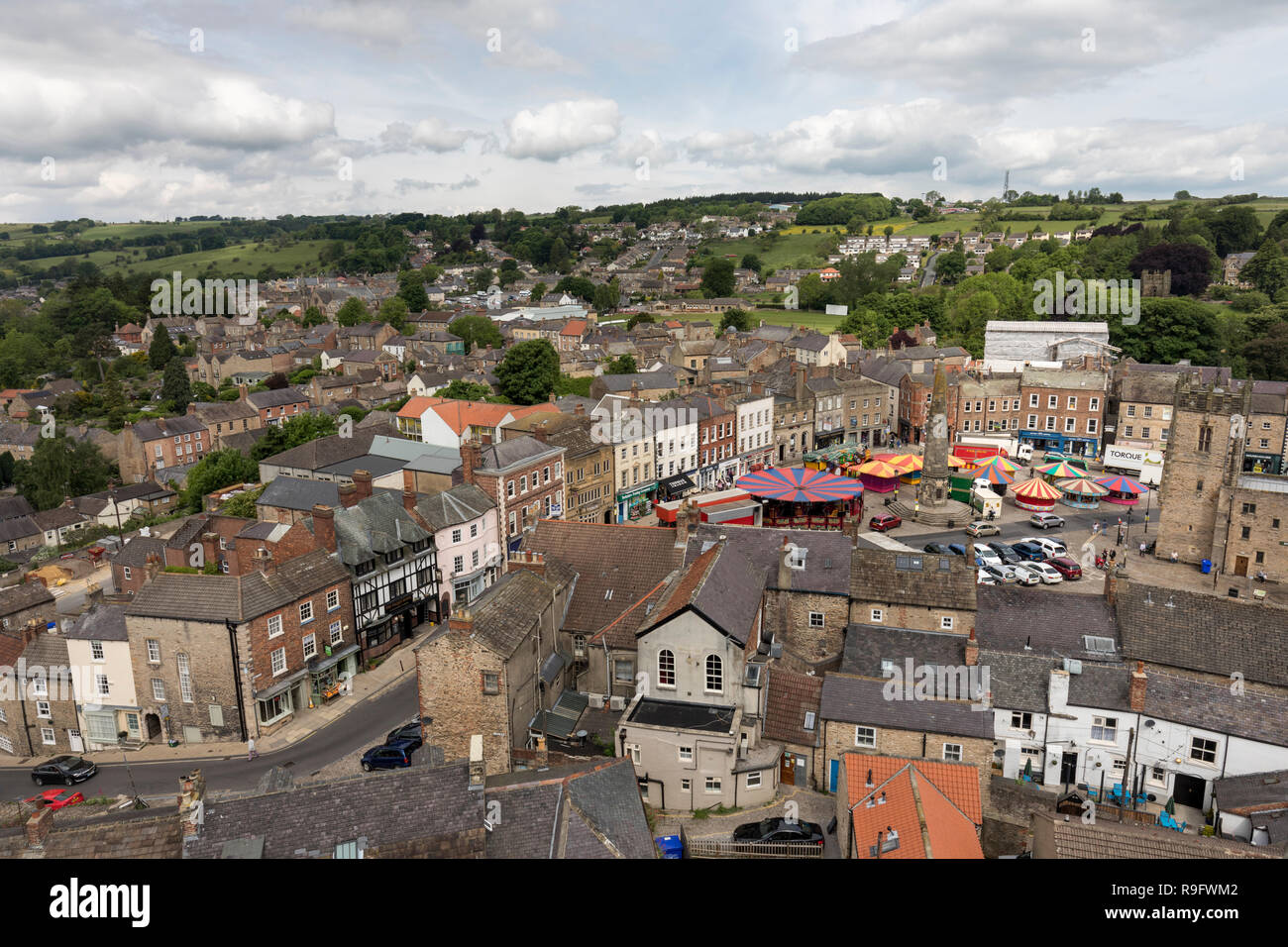 Richmond; Town from the Castle Walls; Yorkshire; UK - Stock Image