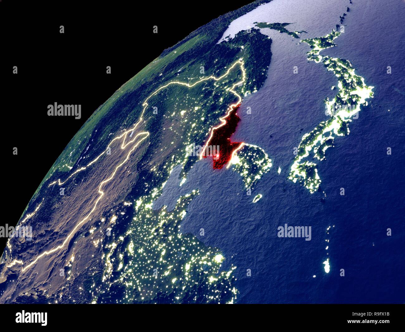 Satellite view of North Korea on Earth with city lights. Extremely on korea satellite night time, korea world of lights, germany light map, usa light map, global light map, africa light map, afghanistan light map, indonesia light map, pakistan light map, korea at night, malawi light map,