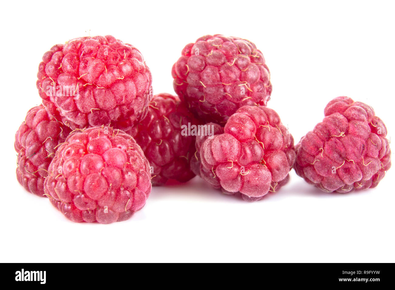 Ripe raspberry it is isolated on a white background - Stock Image