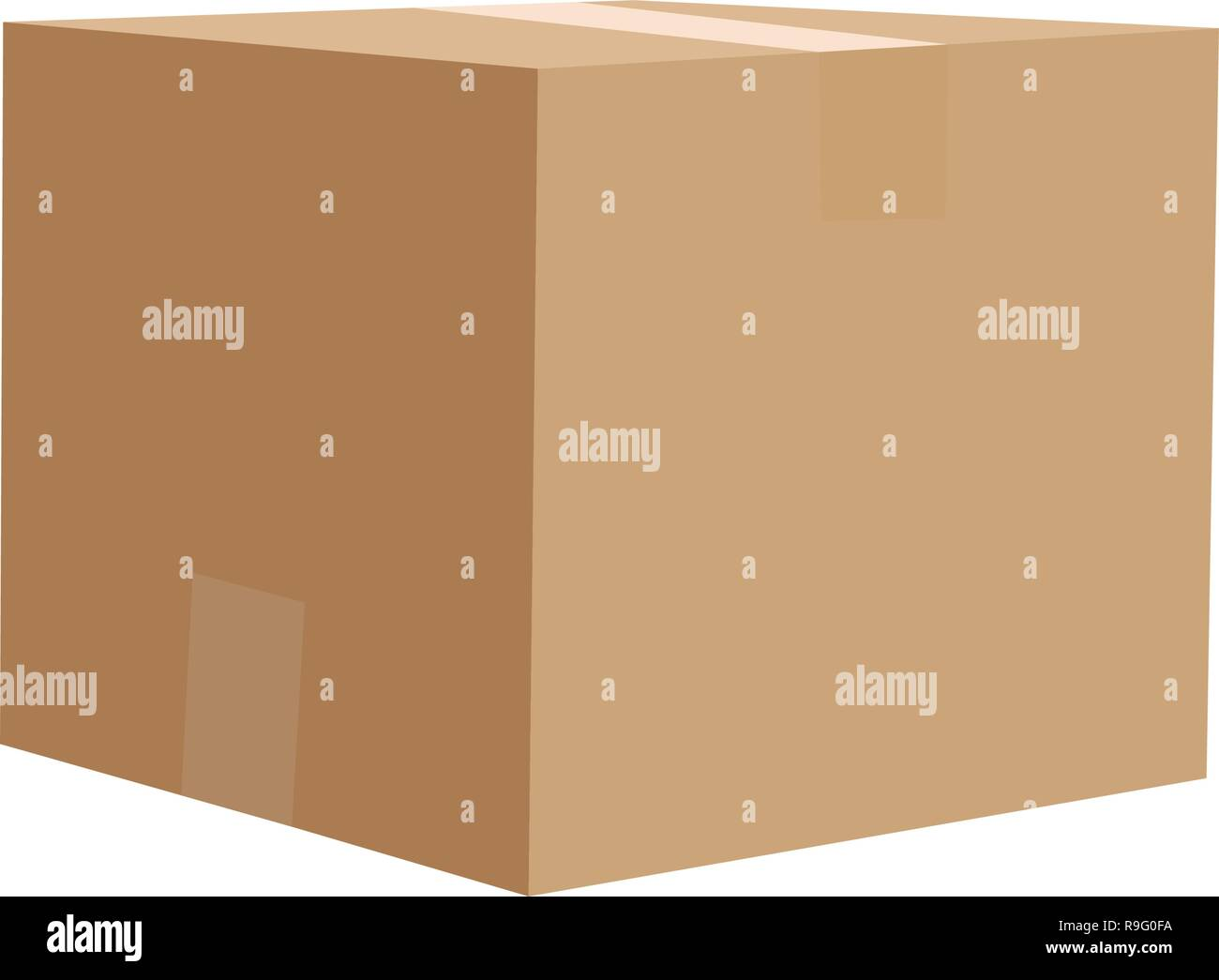 Closed cardboard box vector illustration isolated on white background - Stock Vector