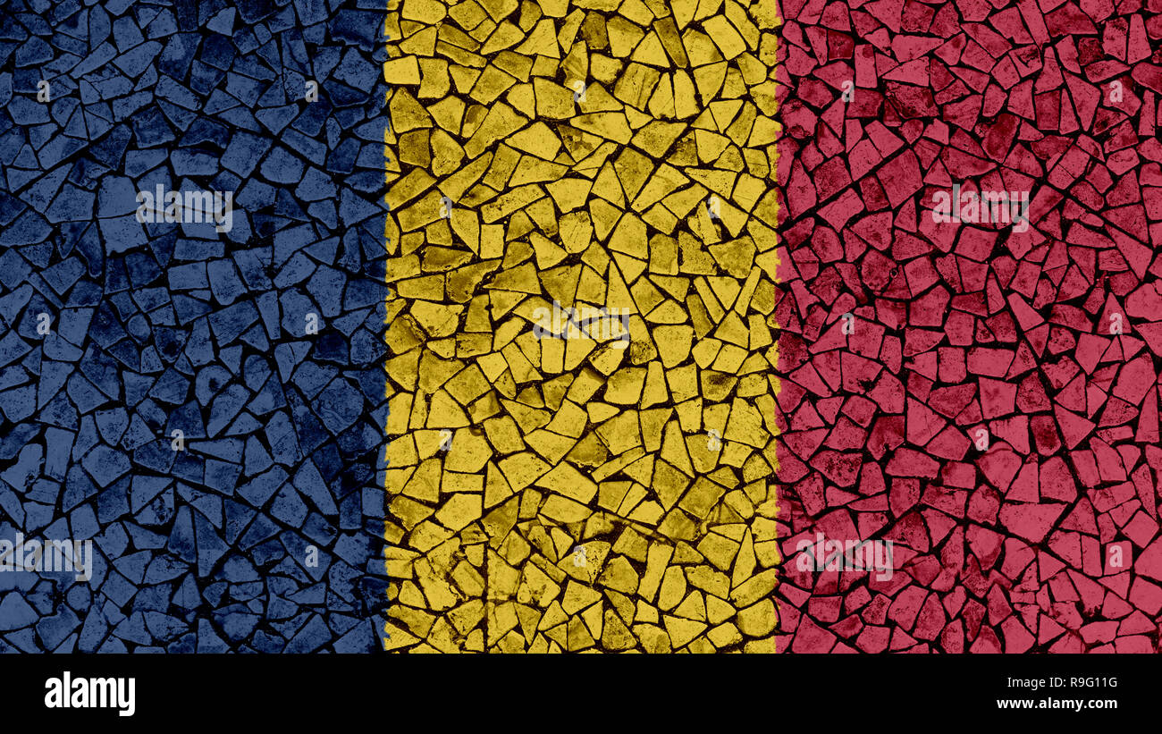 Mosaic Tiles Painting of Chad Flag, Background Texture Stock Photo